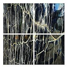 image of striation frameless tempered glass wall art