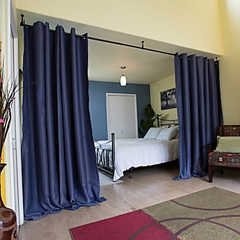 stylist and luxury room deviders. image of RoomDividersNow Hanging Room Divider Kit A with 8 Foot Tall  Curtain Panel Dividers Separators Bed Bath Beyond