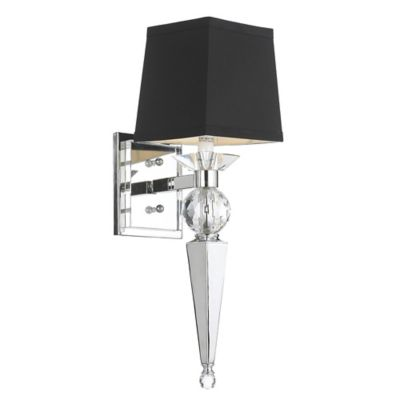 Chrome Wall Sconce With Black Shade : Buy AF Lighting Candace Olson Margo 1-Light Wall Sconce in Chrome with Black Shade from Bed Bath ...