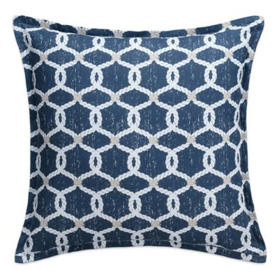 image of Nautical Map Rope Knots Square Throw Pillow in Navy