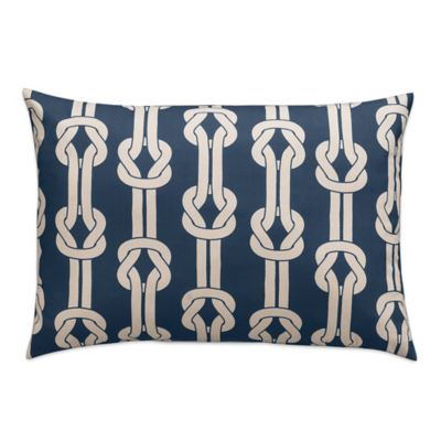 image of Dockside Rope Tie Oblong Throw Pillow in Navy