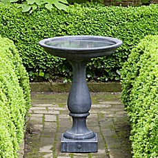 image of Campania Williamsburg Candlestand Birdbath in Black