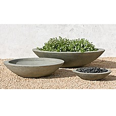 image of Campania International Low Zen Round Cast Stone Planter