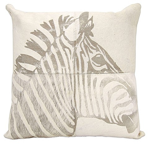 White Leather Throw Pillow : Mina Victory? Laser Cut Leather Hide Square Zebra Throw Pillow in White - Bed Bath & Beyond