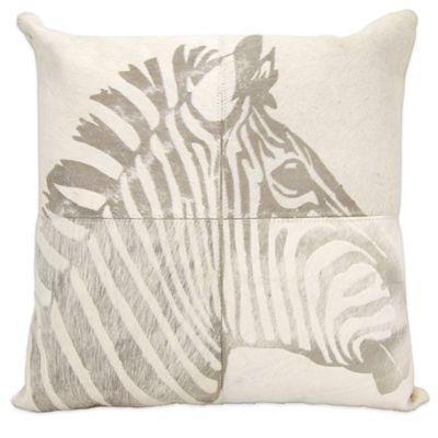 Mina Victory Laser Cut Leather Hide Square Zebra Throw Pillow in White - Bed Bath & Beyond