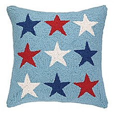 image of americana stars emblem hand hooked square throw pillow in light blue - Pillows Decorative