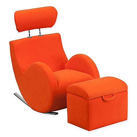 Buy flash furniture hercules kids fabric rocking chair and for Childrens rocking chair with footstool
