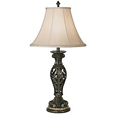 image of Kathy Ireland Essentials® Manor Table Lamp in Cima Gold with Bell Shade
