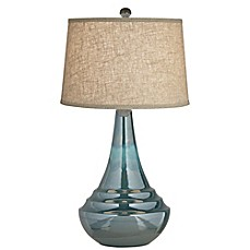 Image Of Pacific Coast Lighting® Sublime Table Lamp In Blue With Coarse  Linen Shade