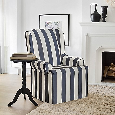 Buy FurnitureSkins Hampton Wing Chair Slipcover In Navy From Bed Bath