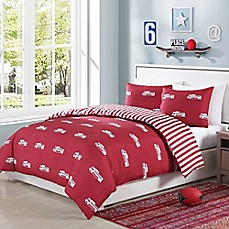 image of Lala + Bash Franklin Trucks Reversible Comforter Set in Red