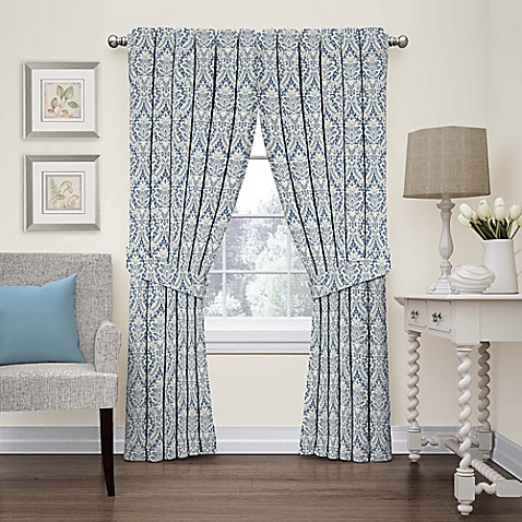 Buy Waverly Donnington Damask 63 Inch Rod Pocket Window Panel In Cornflower From Bed Bath Beyond