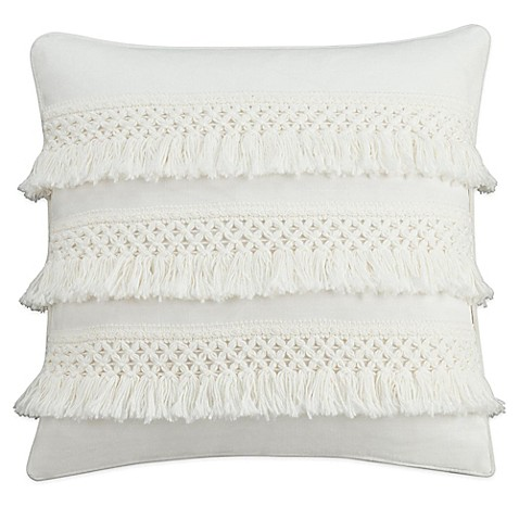 Chambray Dot Square Throw Pillow in White - Bed Bath & Beyond