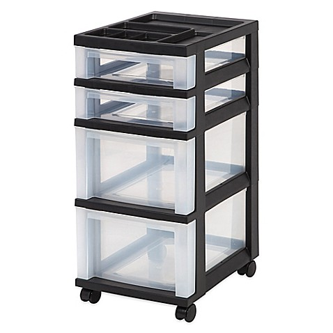 rolling cart with drawers buy 4 drawer rolling storage cart in black from bed bath 25618