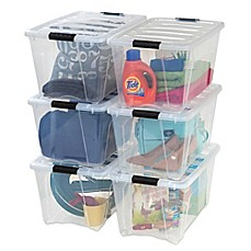 image of IRIS® Stack & Pull™ Plastic Latch Boxes (Set of 6)
