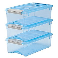 image of IRIS® 5.7 qt. Stack & Pull™ Modular Latch Box in Blue (Set of 10)