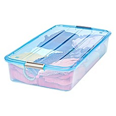 image of IRIS® 51 qt. Buckle-Up Box in Transparent Blue (Set of 6)