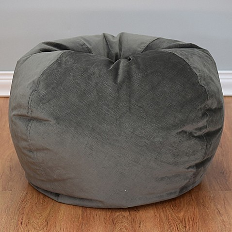 Image Of Large Textured Velvet Bean Bag Chair