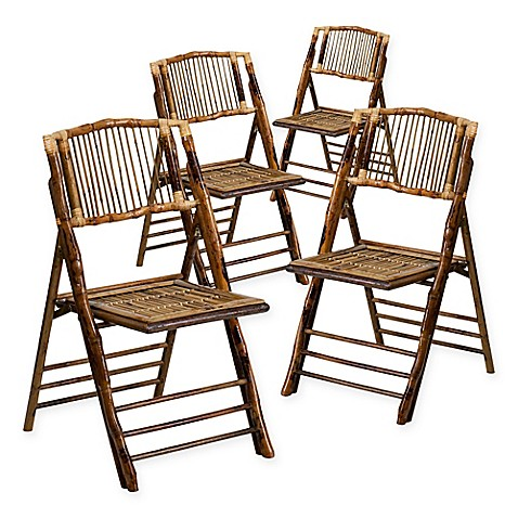 Flash Furniture Bamboo American Champion Folding Chairs in Brown ...