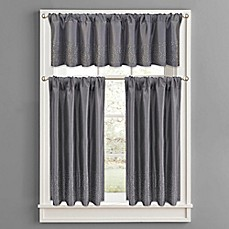 Image Of Twilight Polyester Window Curtain Tier Pair And Valance In Grey