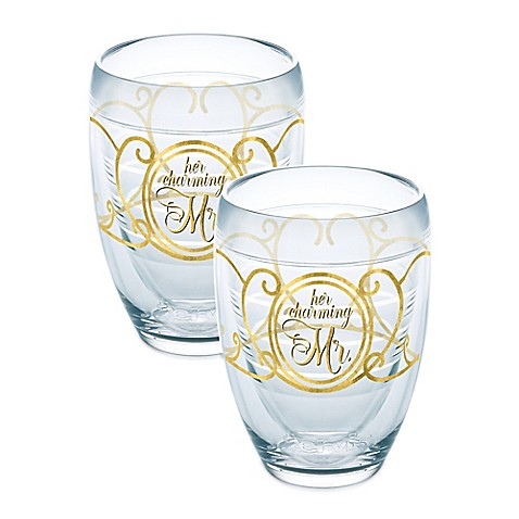 Tervis mr and mrs wedding 9 oz stemless wine glasses set of 2 bed bath beyond - Insulated stemless wine glasses ...