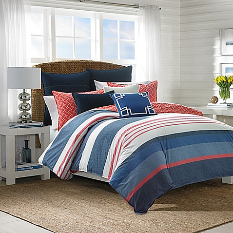 Nautica 174 Hawes Duvet Cover Set In Navy Coral Bed Bath