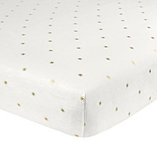 image of Just Born® Sparkle Sunburst Fitted Crib Sheet in Ivory