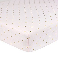 image of Just Born® Sparkle Heart Fitted Crib Sheet in Pink