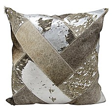 image of Mina Victory Natural Leather Hide Chevron 20-Inch Square Throw Pillow