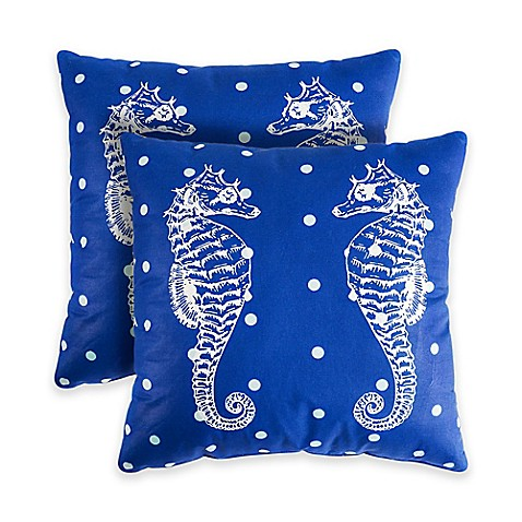 Madison Square 18-Inch Decorative Pillows : Seahorse 18-Inch Square Throw Pillows in Blue (Set of 2) - Bed Bath & Beyond