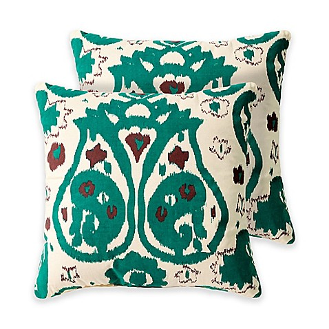 Madison Square 18-Inch Decorative Pillows : Haslett 18-Inch Square Throw Pillows in Green (Set of 2) - Bed Bath & Beyond