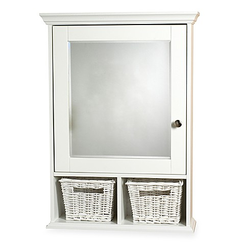 Zenith Wood Medicine Cabinet with Wicker Baskets in White