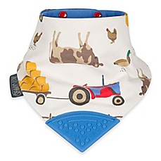 image of Cheeky Chompers® Neckerchew® Farmer Joules 2-in-1 Teething Bandana Bib in White