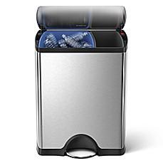 Genial Simplehuman® Brushed Stainless Steel Fingerprint Proof Rectangular 46 Liter Recycler  Trash Can