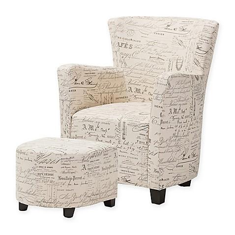 Baxton Studio Benson French Script Club Chair And Ottoman