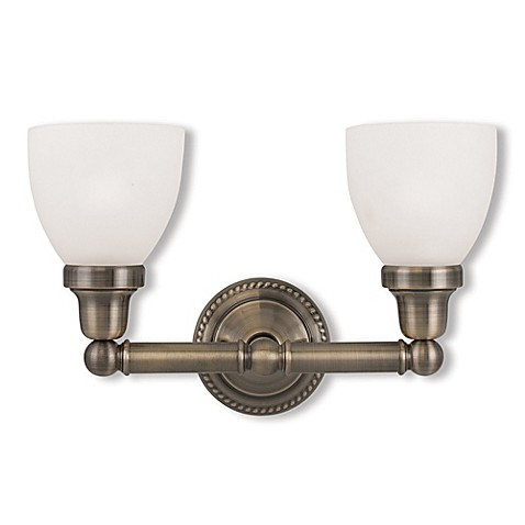 buy classic 2 light bath fixture in antique brass from bed