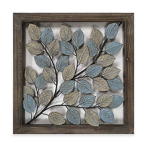 Elegant Leaves Metal Wall Art In Blue U0026 Cream