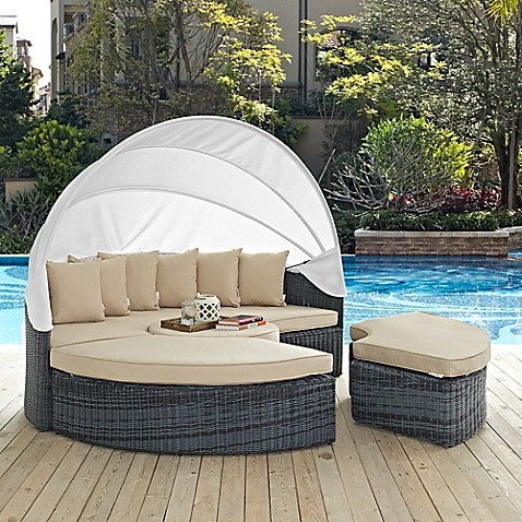 Modway Summon Outdoor Canopy Daybed In Sunbrella Canvas
