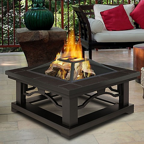 Real Flame® Crestone Fire Pit with Brown Tile