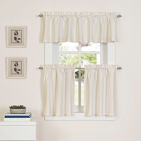 Buy Newport 36 Inch Kitchen Window Curtain Tier Pair In Natural From Bed Bath Beyond