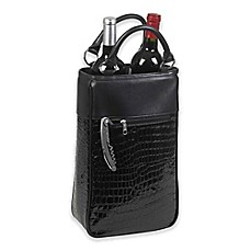 image of Primeware Insulated 2-Bottle Wine Purse in Black