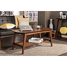 image of Baxton Studio Sacramento End and Coffee Table Collection in Dark Walnut