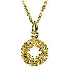 image of 18K Yellow Gold-Plated Cubic Zirconia 18-Inch Chain Compass Pendant Necklace