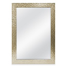 image of 30-Inch x 42-Inch Large Mirror in Tile Champagne