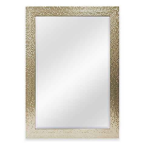 30 inch x 42 inch large mirror in tile champagne bed bath beyond. Black Bedroom Furniture Sets. Home Design Ideas