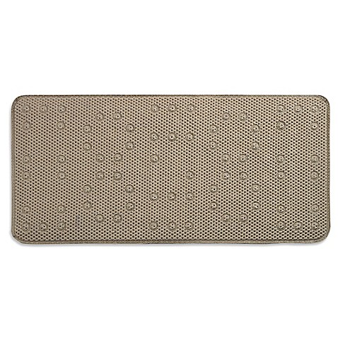 Buy Waffle Weave Foam 17 Inch X 36 Inch Tub Mat In Taupe