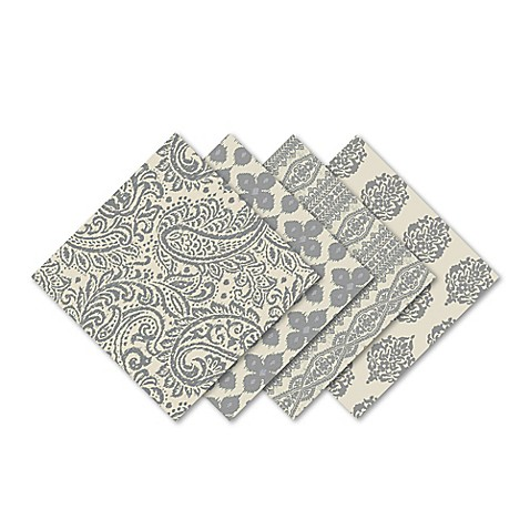 Assorted Printed Cotton Napkins in Grey (Set of 4) - Bed Bath & Beyond