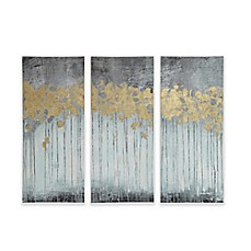 Charming Madison Park Forest Gel Coat Canvas With Gold Foil Embellishment Wall Art  In Grey (Set