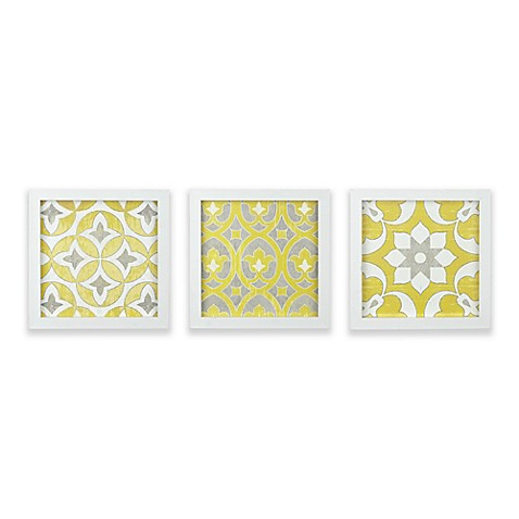 Madison Park Tuscan Tiles Framed Gel Coated Paper Wall Art in Yellow ...