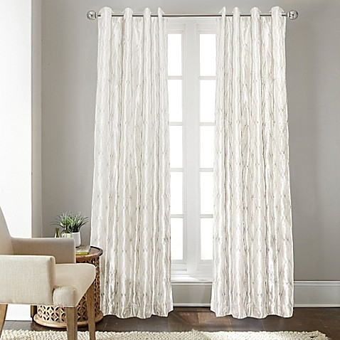buy fresno 108 inch grommet top window curtain panel in white from bed bath beyond. Black Bedroom Furniture Sets. Home Design Ideas